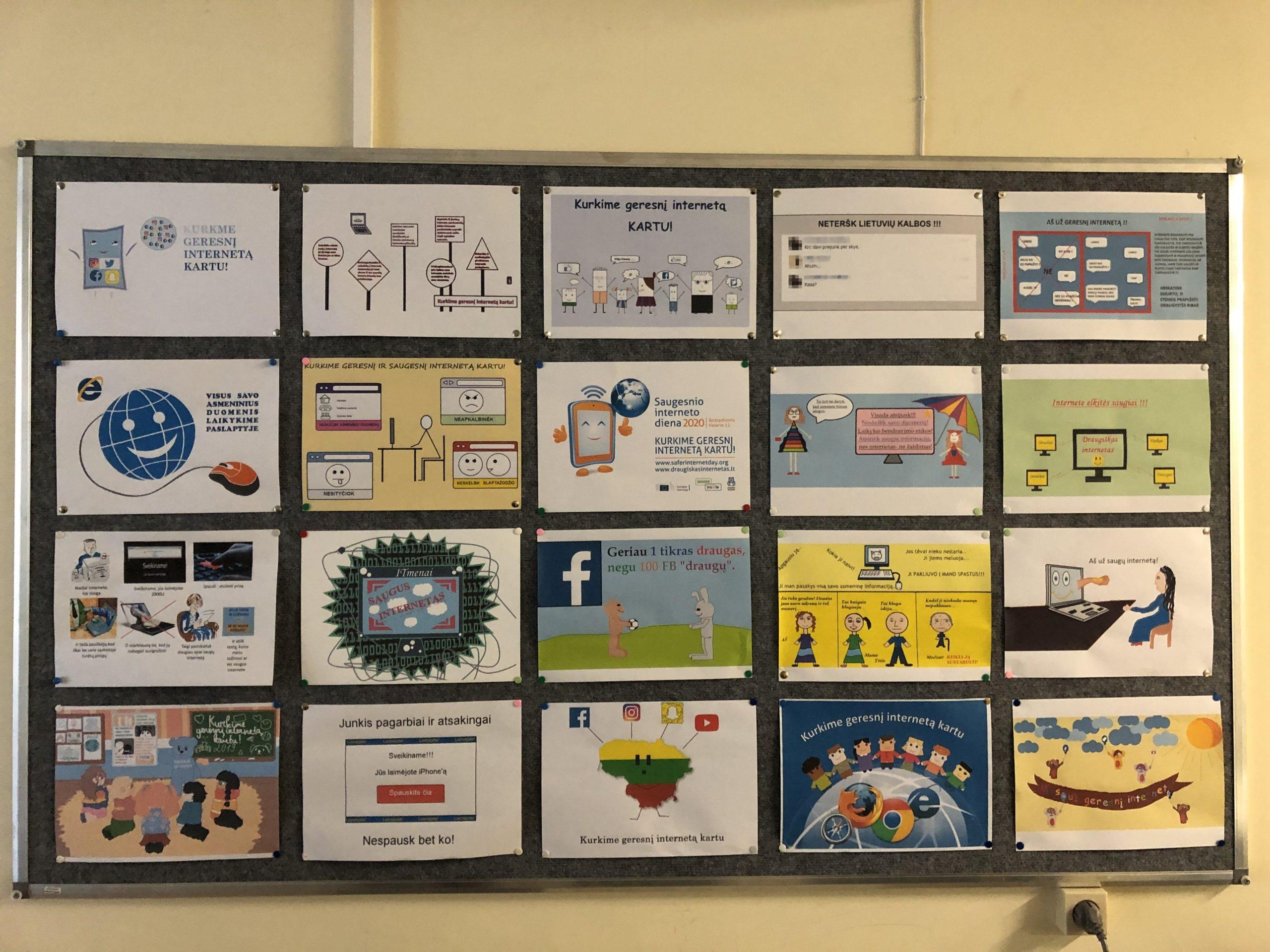 """""""Saugesnio interneto"""" dienai paminėti mokyklose vyko piešinių parodos ir konkursai"""