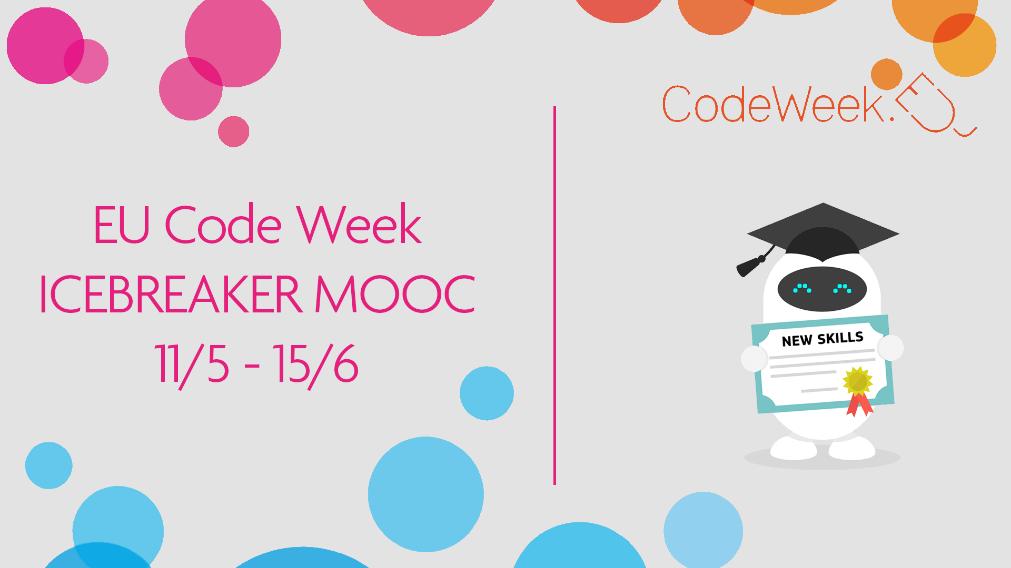 """Europos Sąjungos Programavimo savaitės (Code Week) nemokami """"Ledlaužių"""" (""""Icebreaker"""") kursai prasideda 2020 metų gegužės 11 dieną"""