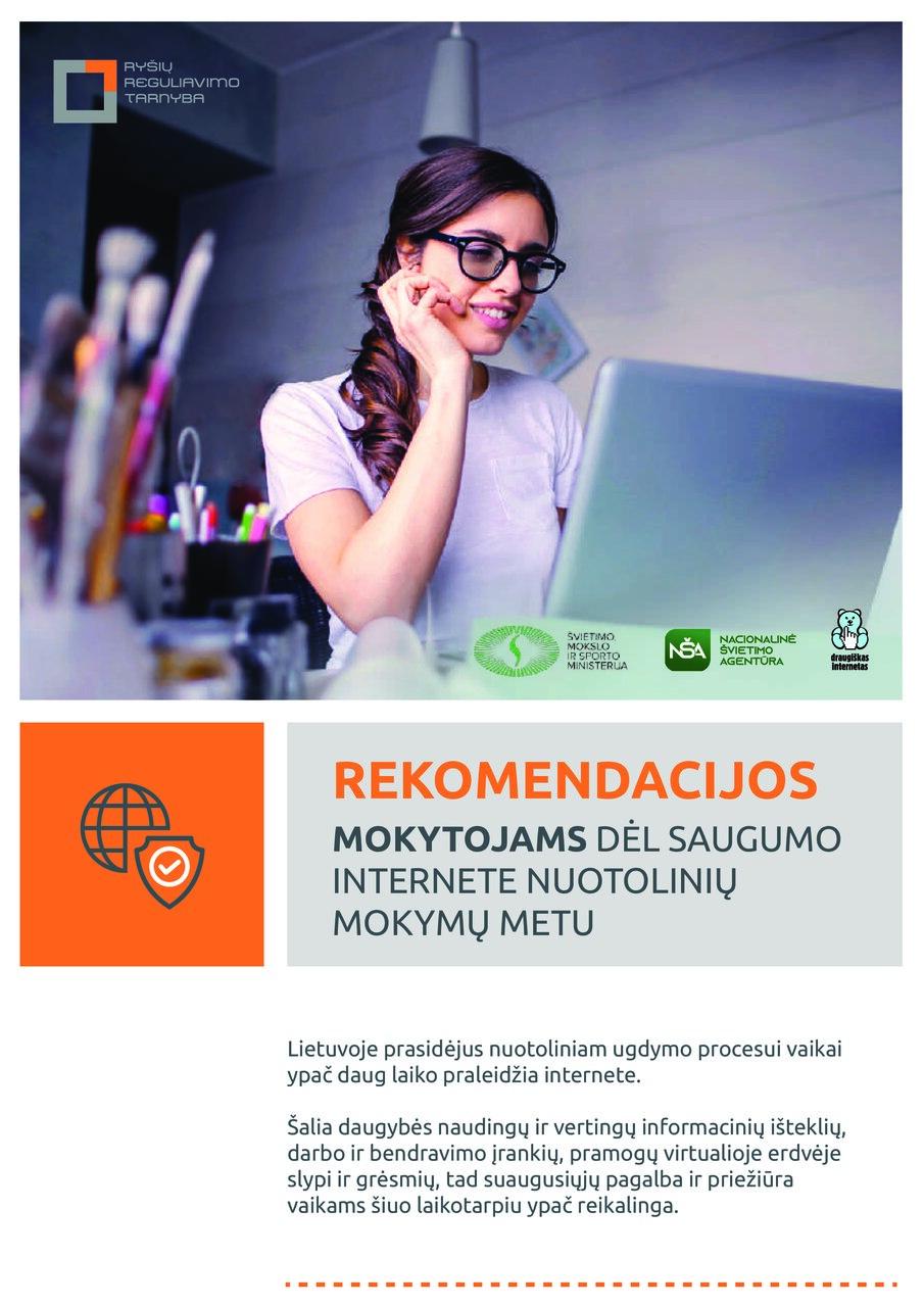 Rekomendacijos mokytojams dėl saugumo internete nuotolinių mokymų metu