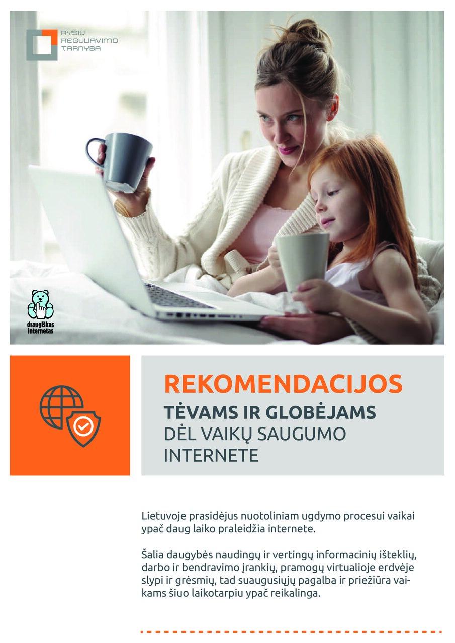 Rekomendacijos tėvams ir globėjams dėl vaikų saugumo internete