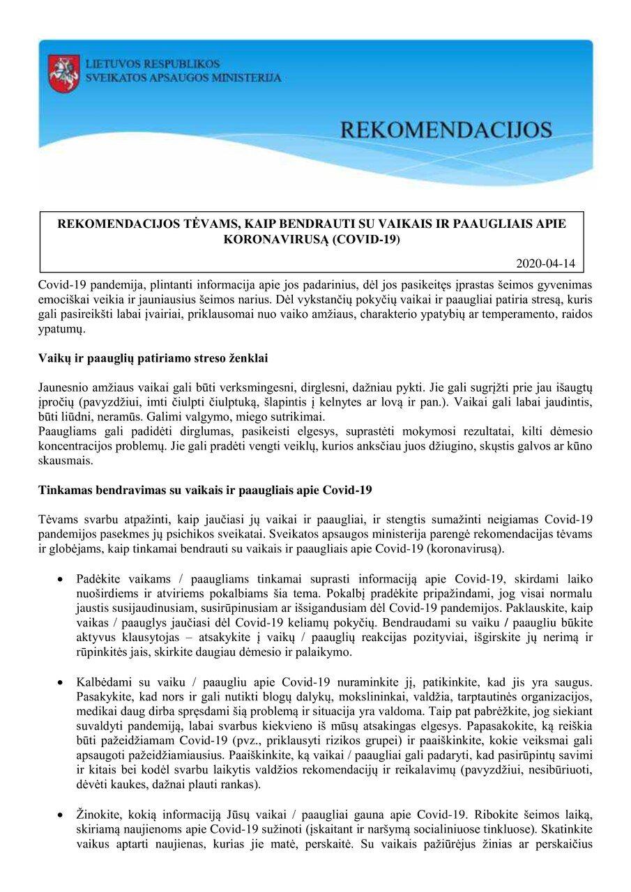 Rekomendacijas mokytojams, kaip bendrauti su mokiniais apie CORONAVIRUSĄ (COVID-19)