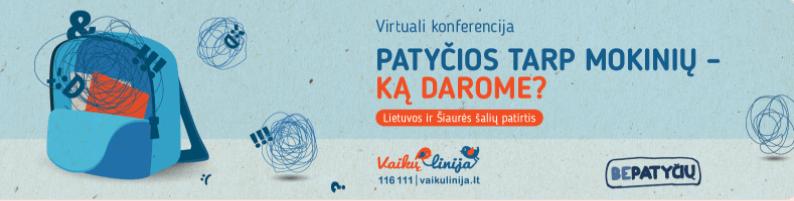 """Kviečiame į nuotolinę konferenciją """"Patyčios tarp mokinių – ką darome? Lietuvos ir Šiaurės šalių patirtis""""."""